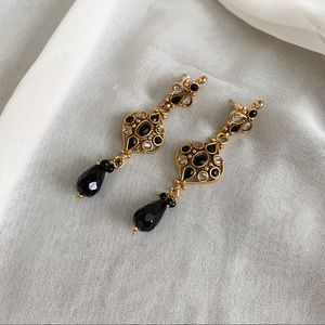 VTG Gold Teardrop Black Jewel CZ Dangle Earrings